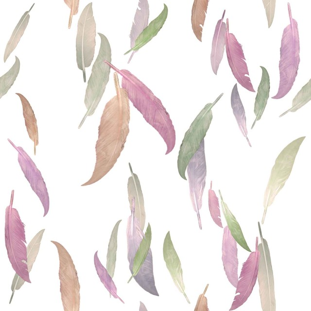 Feather Wallpaper In Mauve By Brett Design Contemporary
