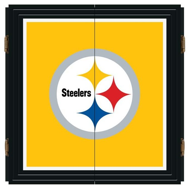 Pittsburgh Steelers NFL Extreme Fan Dart Cabinet Set - Modern - Darts And Dartboards - by Man ...