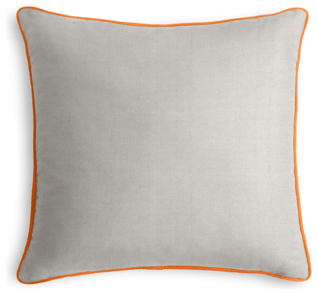 Grey Outdoor Pillow with Orange Cord Outdoor Cushions