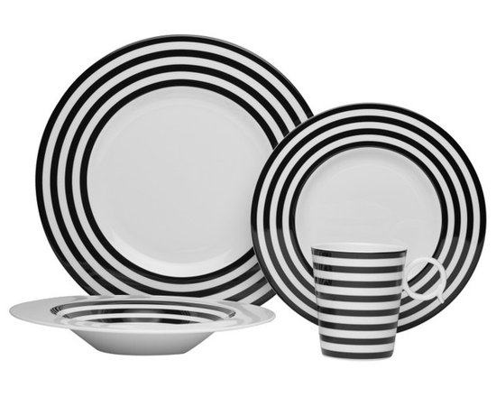Freshness 4 Piece Place Setting, Black Lines - The Freshness collection brings a vibrant burst of color into your home.  Adorned with vertical lines, solid bands and dots in a variety of hues, this four piece place setting is perfect for casual and formal entertaining alike.