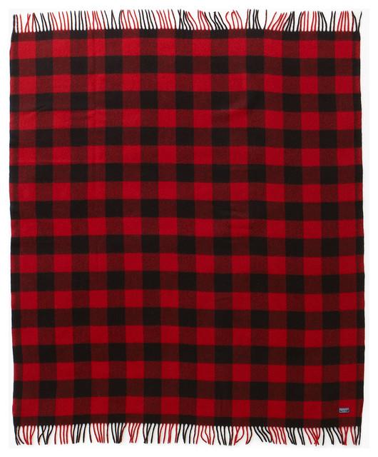 Buffalo Plaid Wool Throw Red Black Traditional Throws