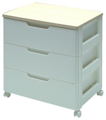 Premium Drawer Storage Series High Grade 3 Drawer Chest in White with Natural Wo - Modern ...