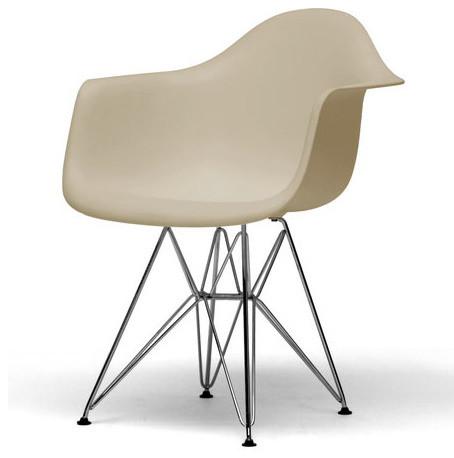 Dario Beige Plastic Mid Century Modern Shell Chair Set