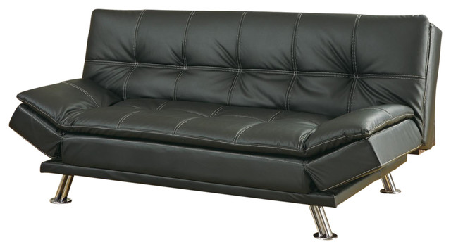 metal leg faux leather sofa bed futon black not include ottoman contemporary futons by. Black Bedroom Furniture Sets. Home Design Ideas