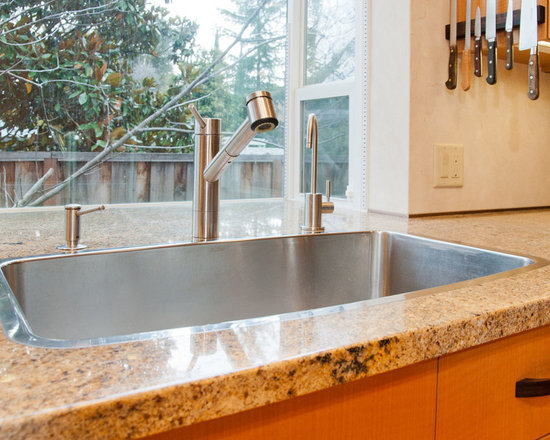 "Blanco Stainless Steel Sink - This Blanco stainless steel sink is neither a drop-in sink or an undermount sink, it has the appearance of a flushmounted sink, and their trademarked name for it is ""microedge."" This is an installation by award winning San Francisco Bay Area Constractor Bill Fry. To learn more, please visit: http://www.billfryconstruction.com/"