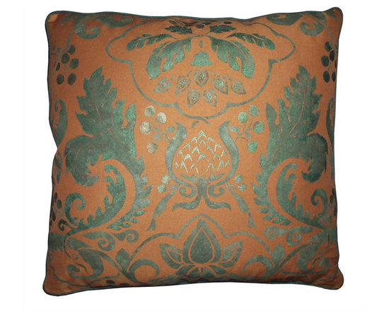 Pair of Hand Printed Floral Pillow Covers - High-end Custom and Ready made pillows available on-line.  A One-of-a-Kind Pair of Decorative Pillow Covers in a Stencil Printed Rich Metallic Patina Green on Sturdy, Raw Sienna Gold Designer Linen Fabric.  Another Original Floral Surface Design Inspired by European Motifs of the 17th and 18th Century.  See Companion Pillows.   Couture Custom Workroom Services Available. Artisanaworks