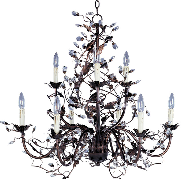 Oil Rubbed Bronze Leaf And Vine Crystal Chandelier