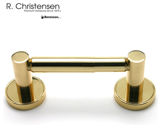 2212US3 Polished Brass 2-Post Tissue Holder by R. Christensen - 8-1/2 inch long contemporary style 2-post tissue holder by R. Christensen in Polished Brass.