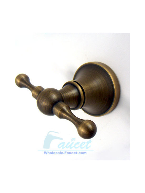 Antique Brass Bathroom Robe Hook - This Double Robe Hook in Antique Brass adds a timeless and traditional appearance to your bathroom decor. The double-hook design helps provide ample storage of your bathrobes and towels.