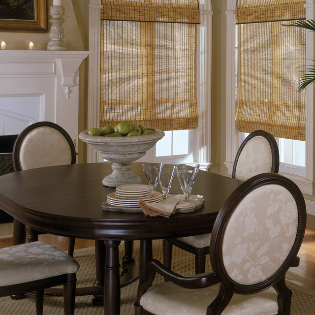 Roman Shade Traditional Dining Room Off White Rustic Bamboo Shades Traditional
