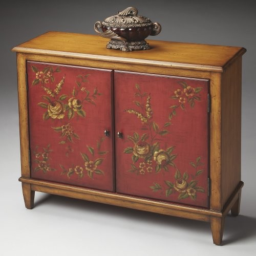 Butler Console Cabinet - Red Hand-Painted contemporary-storage-cabinets
