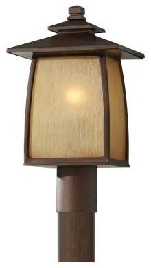 Home Solutions Wright House OL8508SBR 1-Light Outdoor Post Lantern - 9 in. - Sor modern-outdoor-lighting