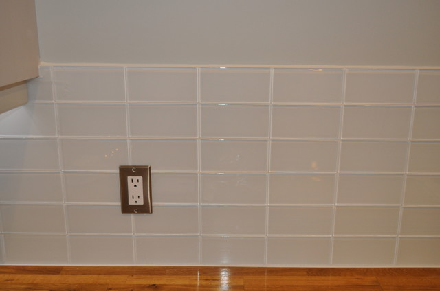 Loft Super White glass subway tile. modern kitchen tile