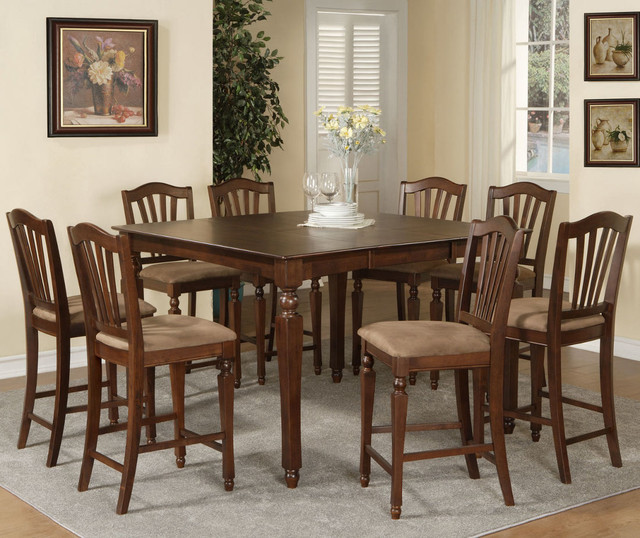 Chelsea 7Pc Set With Counter Height Table And 6 Microfiber Seat Stools Mode