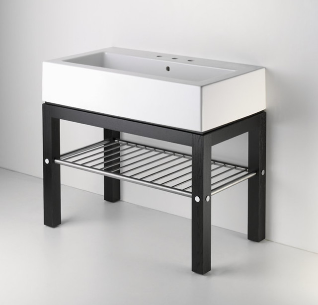wood four leg single console contemporary bathroom