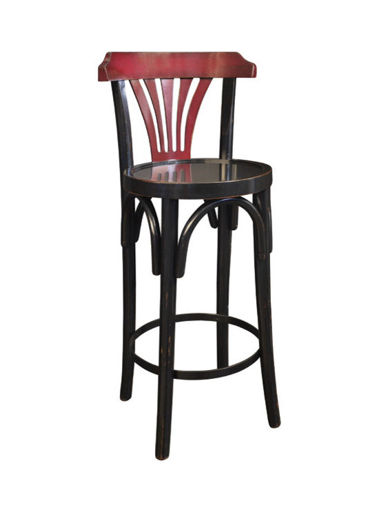 "Inviting Home - de Luxe Black and Red Barstool - The design of our tall brasserie accessory goes back to the late 19th C. when bentwood furniture was developed in Vienna and exported across Europe and the rest of the world; 15""dia. x 40""H The design of our tall brasserie accessory goes back to the late 19th century when bentwood furniture was developed in Vienna and exported across Europe and the rest of the world. Timeless in style and sturdy in construction many have survived ages. And this hand-made barstool will follow the same tradition when handled with love and care. You just walked the Rue Faubourg and are about to descend into the Louvre. Now's the time to make a pit stop in a reputable brasserie maybe the Bofinger near the Opera? Elbow on the bar rail comfortably parked with feet resting on the ring encircling the stool legs..."
