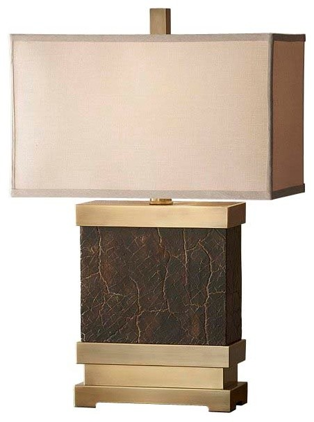 Dark Coffee Bronze / Saddle Brown Lamp contemporary-table-lamps