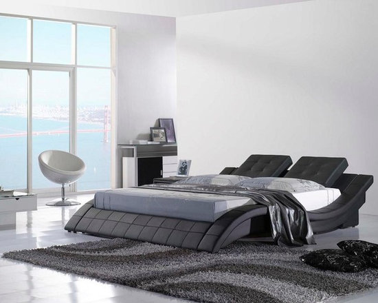 Leather Bed - Italian Leather - HX-A021-B - Genuine Italian leather on headboard and leather match on the sideboards and back