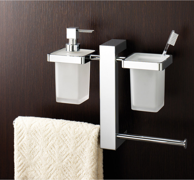 Towel Soap Dispenser ~ Wall mounted rack with toothbrush holder soap dispenser