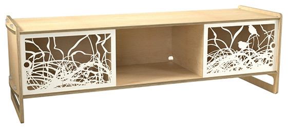 Housefish AV Audio/Video Storage - Maple modern-media-storage