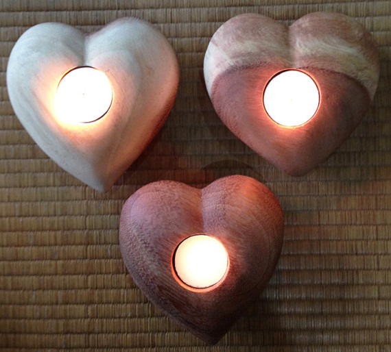 Wood Heart Tea Lights, Large by New York Bangkok contemporary-candles-and-candle-holders
