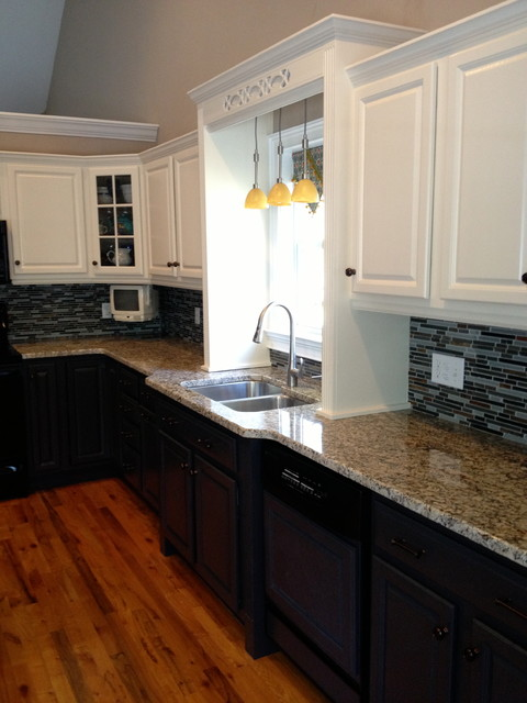 Two tone kitchen with new back splash and countertops ...