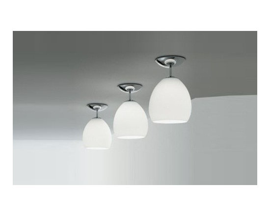 Golf Ceiling Lamp by Leucos - Golf Ceiling Lamp by Leucos. Close to ceiling fixture providing downward and diffused illumination from is handblown, glass diffuser. Companion wall e pendant lamps also available. Golf Ceiling Lamp by Leucos are designed by Toso & Massari.