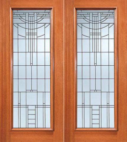 Art Deco Beveled Glass Exterior Double Door Full Lite Contemporary Front