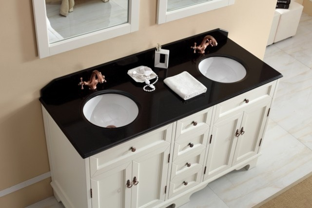 Casoria 1500mm Double Basin White Vanity With Marble Top Traditional Ba