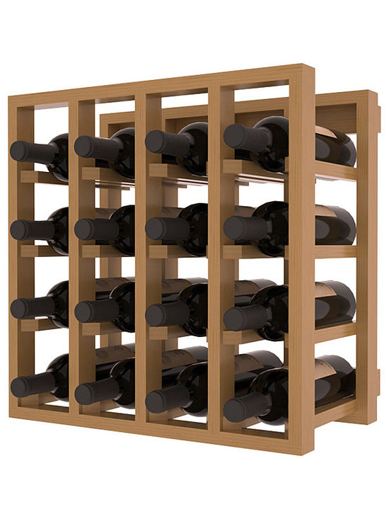 Lattice Stacking Wine Cubicle in Pine with Oak Stain + Satin Finish - Designed to stack one on top of the other for space-saving wine storage our stacking cubes are ideal for an expanding collection. Use as a stand alone rack in your kitchen or living space or pair with the 20 Bottle X-Cube Wine Rack and/or the Stemware Rack Cube for flexible storage.