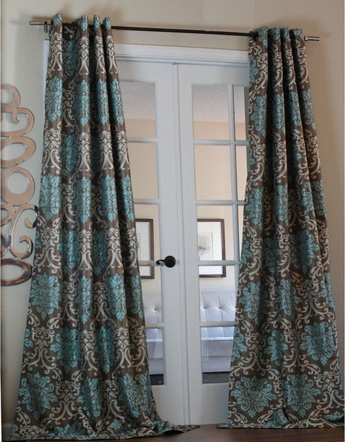 Milan Damask Smoky/Teal 96-inch Curtain Panel contemporary curtains