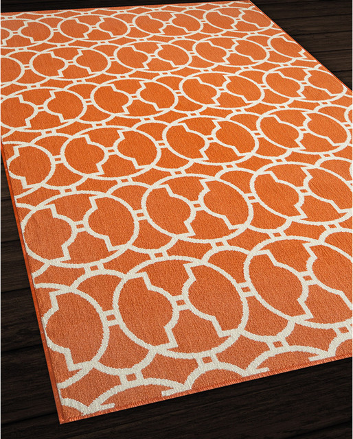 Moroccan Tile Orange Indoor Outdoor Rug 7 10 x 10 10