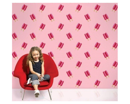 Wallcandy Arts Twin Pops Wallpaper, Pink/Pink - Add a sweet touch to your kid's room with this peel-and-stick popsicle print wallpaper.