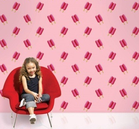 Wallcandy Arts Twin Pops Wallpaper, Pink/Pink contemporary-wallpaper