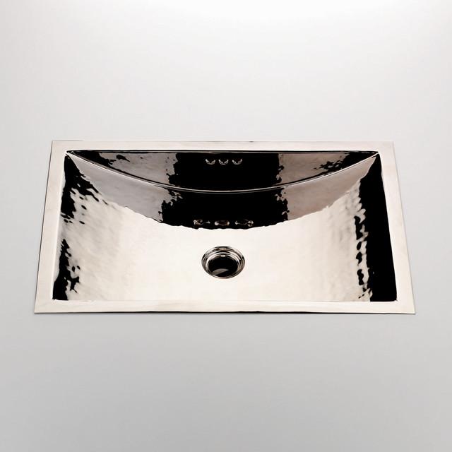 Normandy Hammered Copper Rectangular Drop In Undermount Lavatory Sink Modern Bathroom