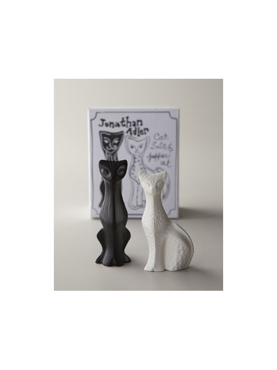 Jonathan Adler - Jonathan Adler Cat Salt & Pepper Shakers - Add a dash of feline chic to the table along with necessary condiments with this irresistibly cute set of salt and pepper shakers. Made of high-fired stoneware with matte glaze. Dishwasher safe. Set arrives in a gift box. Set of two—one white a...