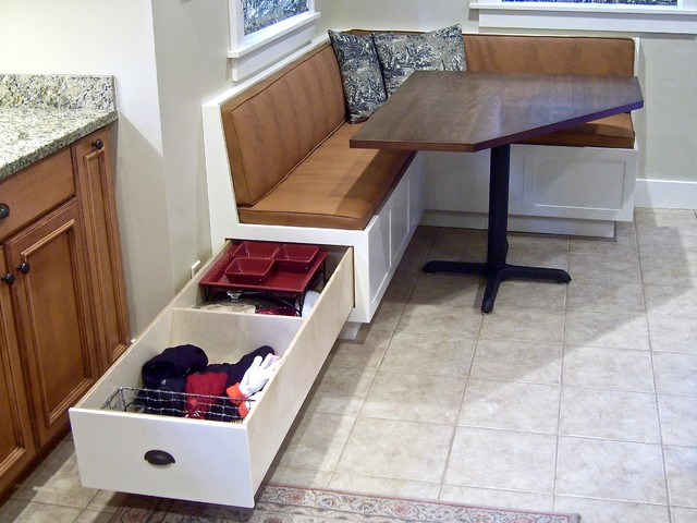 Corner banquette and table traditional dining tables - Kitchen table booth seating ...