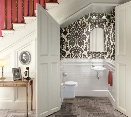 traditional bathroom Pretty Powder Rooms