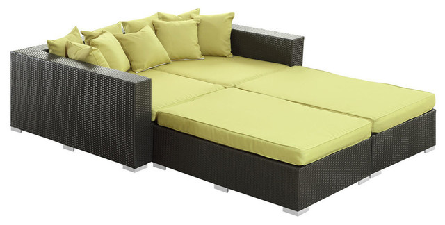 Modway Palisades 4 Piece Daybed in Espresso Peridot contemporary-outdoor-sofas