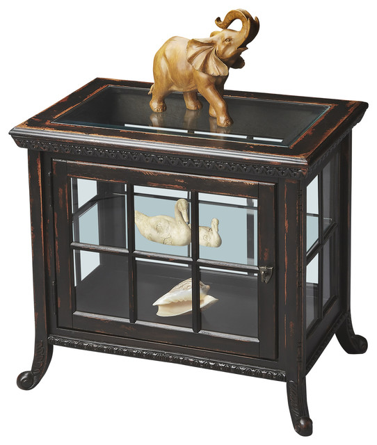 Butler Chopin Midnight Rose Side Chair Curio - Traditional - Storage Cabinets - by DesignerCurios