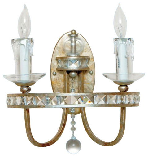 Wall Sconces With Crystal Accents : Aristocrat Wall Sconce in Soft Gold & Crystal Accents - Contemporary - Wall Lighting