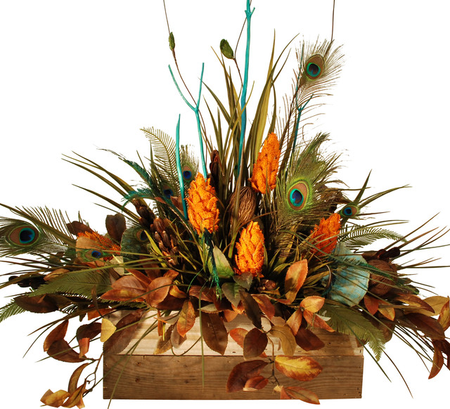 Turquoise and Peacock Feathers In Wooden Box rustic-artificial-flowers-plants-and-trees