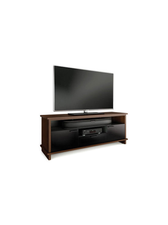 Furniture - Providing a new level of versatility, BRADEN's unique design beautifully accommodates either a soundbar speaker or a tall center channel speaker. This is made possible by the removable center shelf that creates a tall opening for speakers that would typically not fit in most cabinets. BRADEN also has two side component compartments and a convenient media storage drawer. Cabinets include hidden wheels and IR-friendly, grey tinted glass doors with soft-close hardware.
