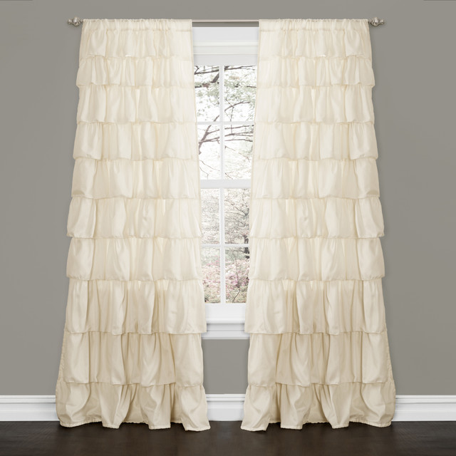 lush decor ivory 84 inch ruffle curtain panel