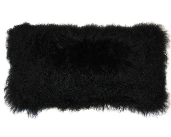 Pillow Decor - Pillow Decor - Mongolian Sheepskin Black Rectangular Pillow - Pure and elegant, our 12x24 Black Mongolian Sheepskin pillow is unquestionably luxurious. This soft and inviting throw pillow adds a natural, simple and charming pleasure to any room. Made of 100% natural Mongolian sheep's wool, its long and textured hairs are light and wonderful to touch. The back is no less luxurious, made from a soft matching black faux suede.