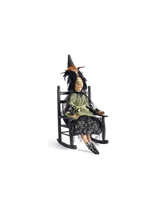 Grandin Road - Lucille Halloween Witch Figure - 3' tall witch figure, dressed in Halloween orange and black. Plush construction featuring high-quality fabrics. Weighted bottom allows Lucille to easily sit in the optional wood Rocking Chair (sold separately). Thelma Witch Figure is made with the same level of detail and makes a perfect companion. Somehow, like Halloween magic, artist Joe Spencer transforms the witch from chilling to charming with his delightful Lucille Witch Figure. An impressive 3 ft. tall, with a highly expressive, handpainted face. Lucille is dressed to thrill in an elaborate orange and black gown, with long orange hair and clutching a feather purse.  .  .  .  .