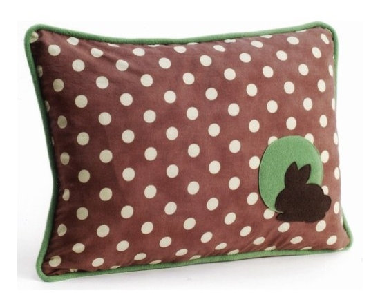 Pillow Decor - Pillow Decor - Bunny Polka Dot Decorative Throw Pillow - One of three delightful pillows in Grand Family Living's 'Forest Baby' collection. This charming childrens pillow will liven up any nursery or add a splash of fun to a nature loving girls room.
