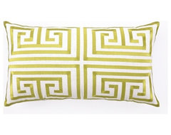 Greek Key Embroidered Bolster, Lime contemporary pillows