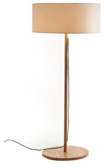 Classic fabric drum shade wood floor lamp modern floor for Modern contemporary floor lamp