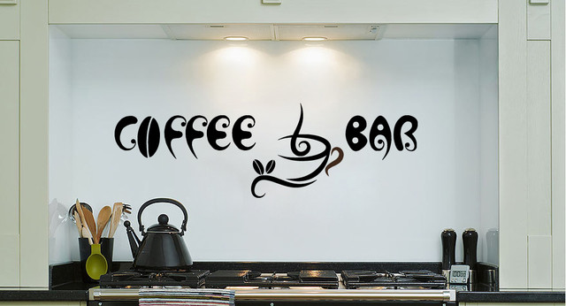 Vinyl decals coffee bar cup beans quote home wall decor removable sticker mural - Bar wall decor ideas ...
